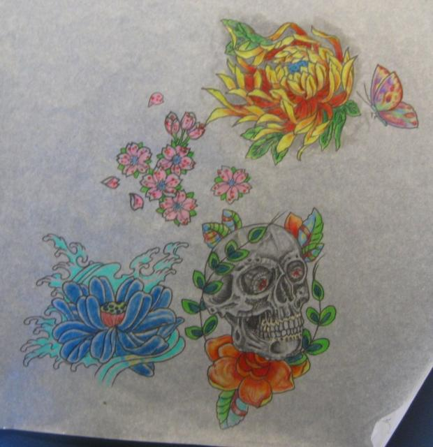Flowers and Skull sheet